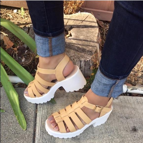ebf621509c82 Beige and white Chunky platform Gladiator sandals